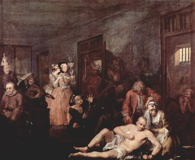 Bedlam, as depicted in the final scene in Hogarth's cycle A Rake's Progress (1723-25)