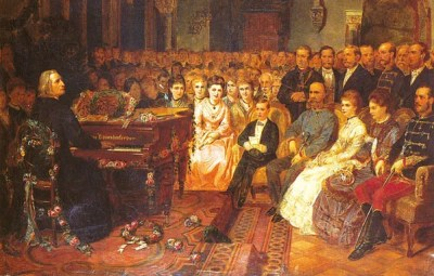 An older Liszt performing in front of Kaiser Franz Joseph I (Note the flowers strewed around him)