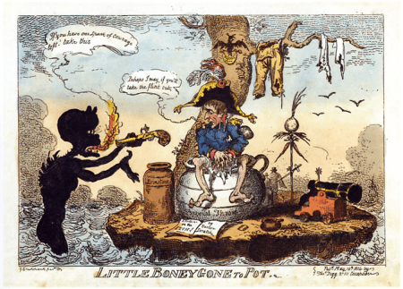 Cruikshank_-_Little_Boney_gone_to_Pot 1814 G. Cruikshank