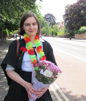 Me, just after my last exam. (I am wearing a gown over sub fusc, the traditional garb for Oxford exams)