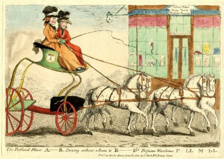 Caricature of Lady Archer driving to a shop on Pall Mall selling rouge and mouse-skin eyebrows