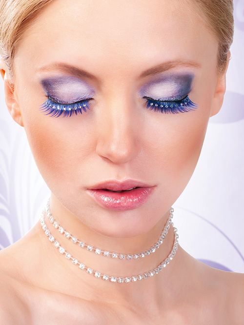 Magic Colors Blue White Rhinestone Eyelashes 524