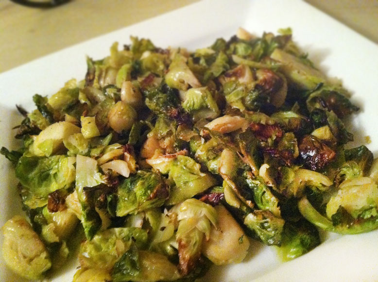 roasted brussel sprout leaves