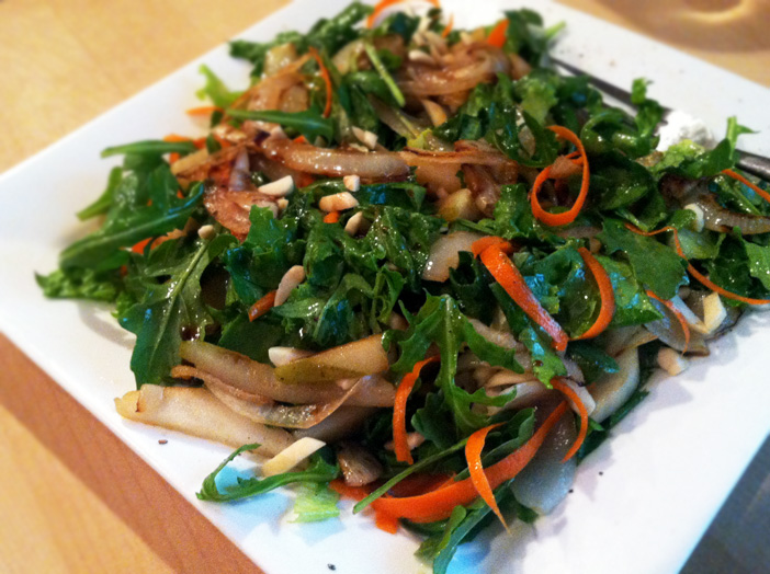 Carmelized onion and pear salad recipe