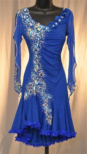 Key Hole Mesh Sleeves Ruffle Latin Dress