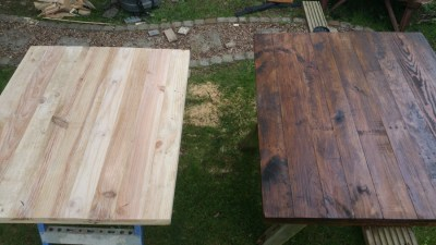 Before and after Walnut stain