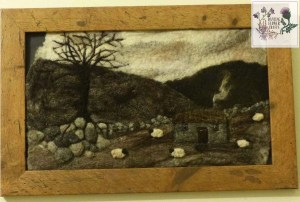 Felted picture using natural rare breed sheep fleece