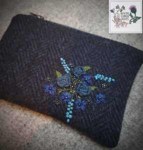 Harris Tweed Purse Blue Bouquet