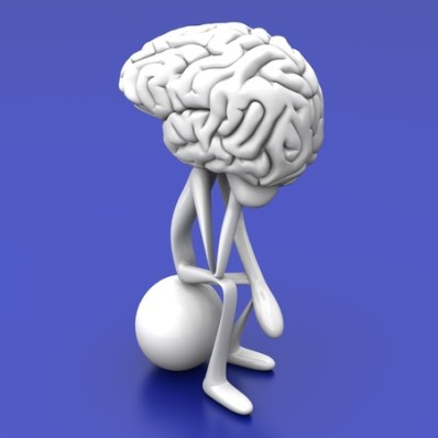 "Vector drawing of a brain with limbs sitting in ""The Thinker"" pose"