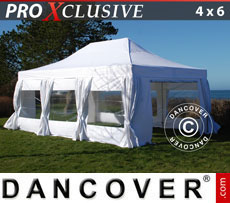 Pop up gazebo FleXtents PRO 4x6 m White, incl. 8 sidewalls & decorative curtains