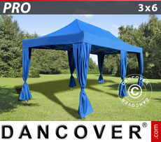 FleXtents Pop Up Marquees - Pop up gazebo FleXtents PRO 3x6 m Blue, incl. 6 decorative curtains