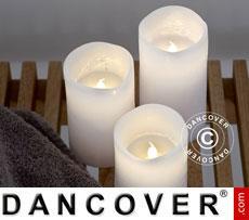 LED Wax Candle, 3 pcs set, TENNA, White