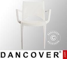 Chair with armrests, Paris, White, 6 pcs.