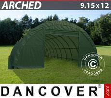 Storage shelter 9.15x12x4.5 m, PVC 600 g/m², Green