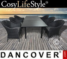 Dining Set w/1 dining table + 6 dining chairs, Key West, Black