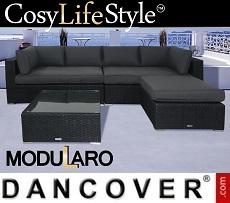 Poly rattan Lounge Set III, 4 modules, Modularo, Black