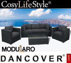 Poly rattan Lounge Set I, 6 modules, Modularo, Grey