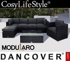 Poly rattan Lounge Set II, 7 modules, Modularo, Black