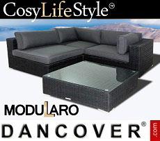 Poly rattan Lounge Set I, 4 modules, Modularo, Black