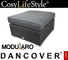 Poly rattan footstool for Modularo, Square, Black