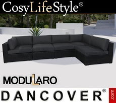 Poly rattan Lounge Sofa I, 5 modules, Modularo, Black