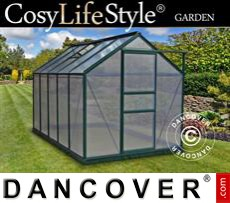 Greenhouse Polycarbonate 5.92m², 1.9x3.12x2.01 m, Green