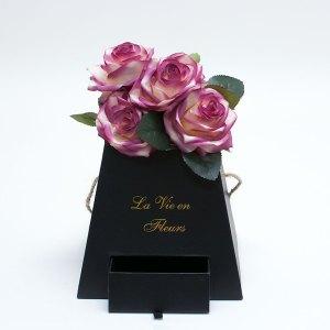 W9473 Black Square Pyramid Frustum Flower Box with Drawer