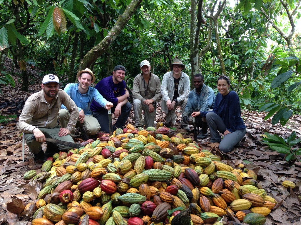 Ryan Berk (Parliament Chocolate), Nate Hodge (Raaka Chocolate), Liv Ordway (Raaka Chocolate), Charles Kerchner, Greg D'Alesandre (Dandelion Chocolate), Neno (Producer, Zorzal Cacao), and Minda Nicolas (Dandelion Chocolate)