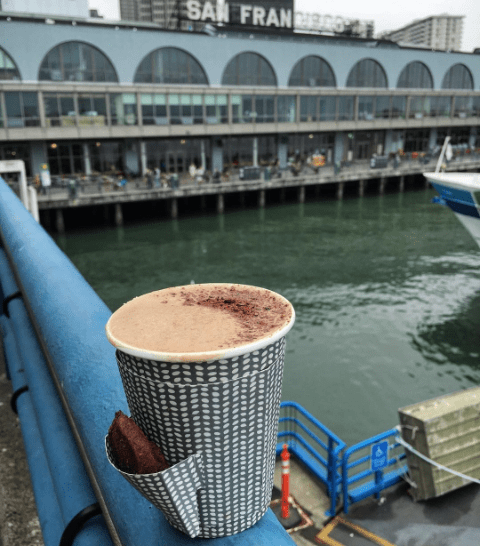 Our Mission Hot Chocolate (with treat sleeve) on the Ferry Observation Deck
