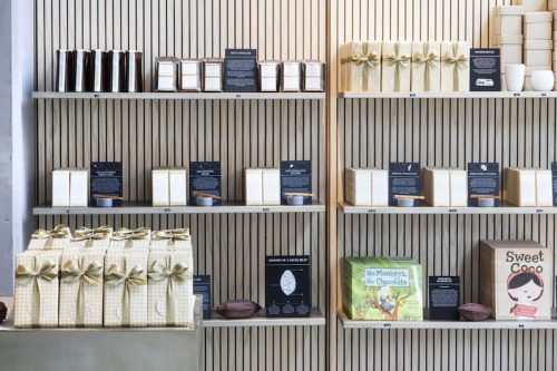 The shelves inside Dandelion Chocolate LA