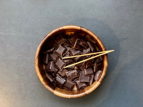 A bowl of chocolate ready to taste