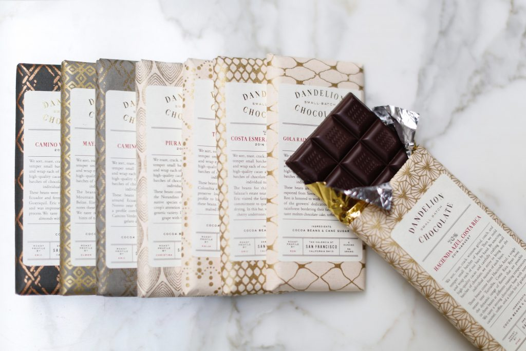 a row of Dandelion Chocolate bars