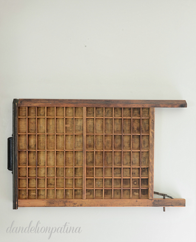 styling a vintage printers tray