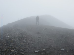walking on the ridge upt to Red Crater