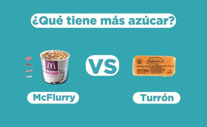Comparativa de azúcar entre un McFlurry de McDonalds y el turrón de Jijona