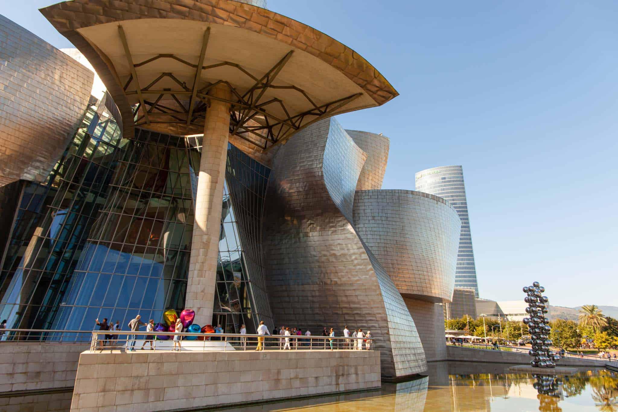 The modern looking Guggenheim museum in Bilbao Gu