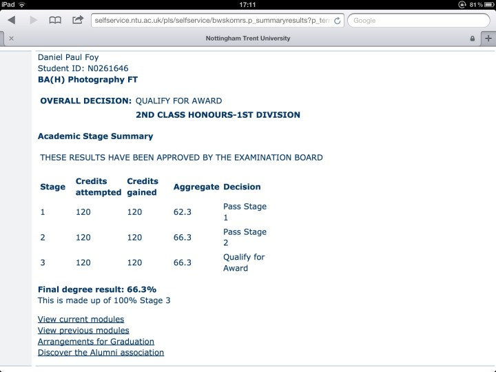 my degree results in  second class  first division  u2014 danfoy dot com
