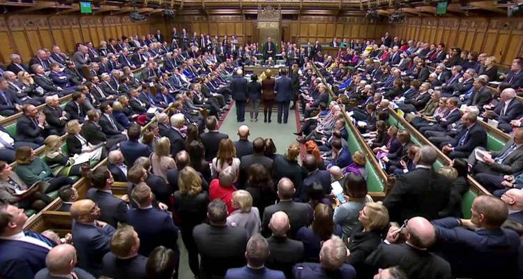 Tellers announce the results of the vote on Cooper's Amendment to delay Brexit in Parliament, in London, Britain, January 29, 2019, in this screen grab taken from video. Reuters TV via REUTERS