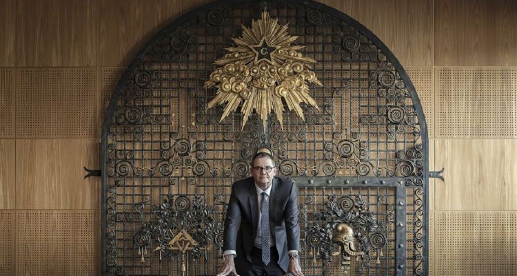 """Jean Philippe Hubsch Grand Maitre of the """"Grand Orient de France"""", France's largest  Masonic organization poses, on September 20, 2018 at his office in Paris. (Photo by JOEL SAGET / AFP)"""