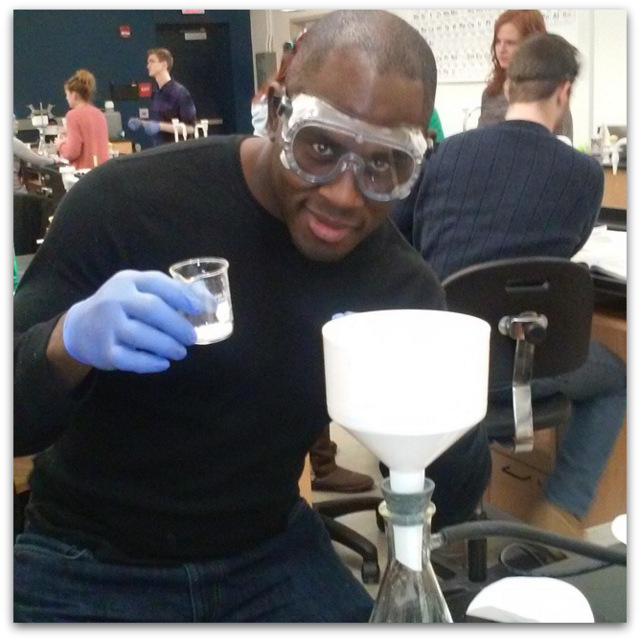 Ed Latimore in the lab college