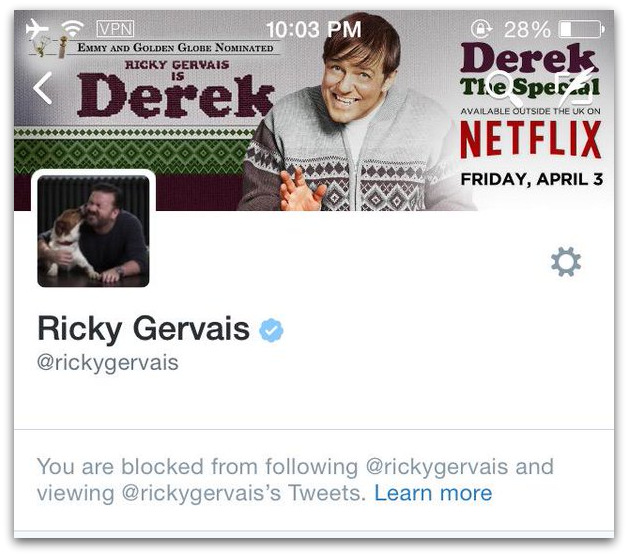 Ricky Gervias Mike Cernovich blocked Twitter