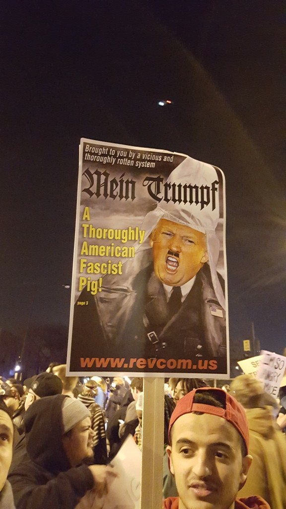 Chicago Trump Rally Trump is Hitler Poster