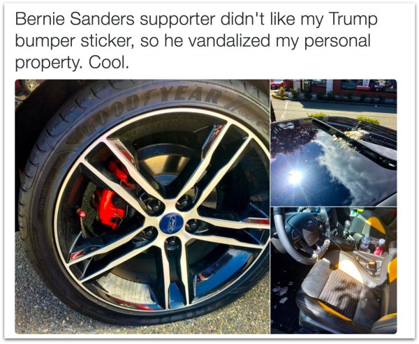 Bernie Sanders support vandalized Trump car bumper sticker.35 PM