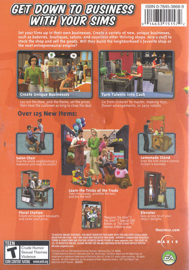 Sims 2 Open for Business (Back)