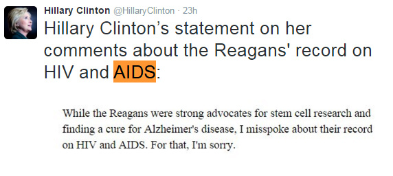 Clinton's Statement on her praise of the Reagan's AIDS work