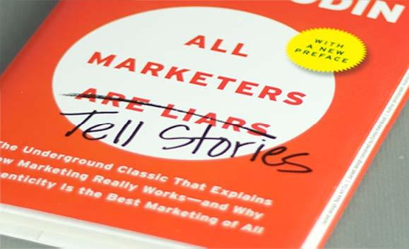 closeup of marketing book by seth godin