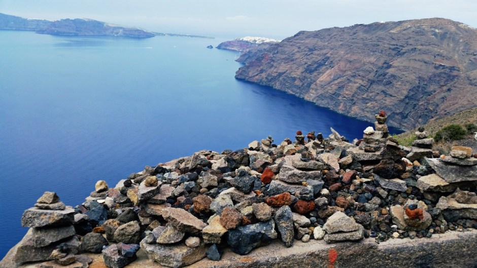 Cairn on the Santorini hike
