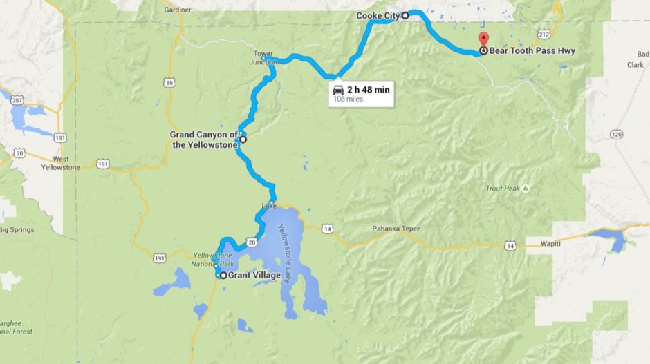 Northeast Yellowstone Map