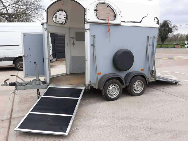 Another Cheval Horse Trailer fitted with new front and rear ramps in the Danhire Trailer Workshops