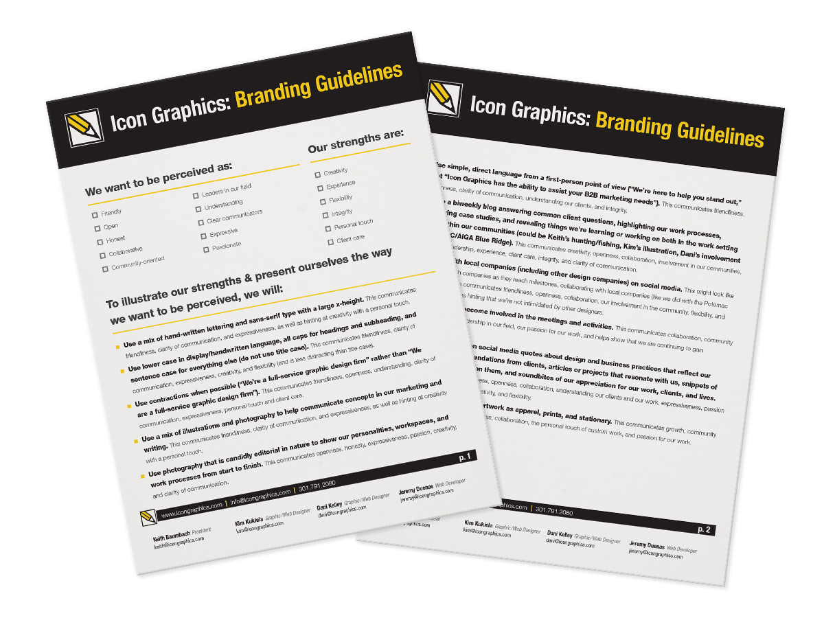 Branding guidelines written to help as we reworked the Icon Graphics website design and content, along with as we communicated with clients and vendors.